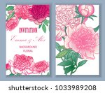 vector banners with peonies  on ... | Shutterstock .eps vector #1033989208