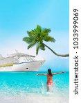 Cruise Vacation Woman Caribbean Tropical - Fine Art prints
