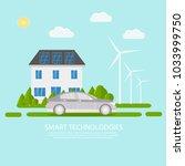 green modern house with solar... | Shutterstock .eps vector #1033999750