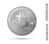 silver bitcoin coin  crypto... | Shutterstock .eps vector #1034001418