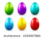 easter eggs colored set. spring.... | Shutterstock .eps vector #1034007880