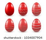 easter eggs red set. spring.... | Shutterstock .eps vector #1034007904