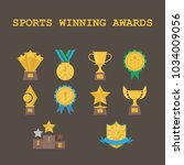 set of sports winning awards... | Shutterstock .eps vector #1034009056
