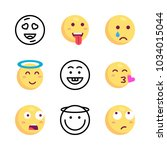 icons emoji. vector scared... | Shutterstock .eps vector #1034015044
