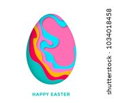 happy easter greetong card with ... | Shutterstock .eps vector #1034018458