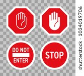 stop road sign with hand...   Shutterstock .eps vector #1034019706