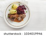 beef roll with red cabbage and... | Shutterstock . vector #1034019946