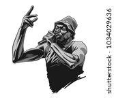 rap singer. rapper character... | Shutterstock .eps vector #1034029636
