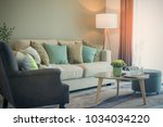 cozy living room with sety of... | Shutterstock . vector #1034034220