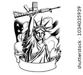 statue of liberty with gun.... | Shutterstock .eps vector #1034035939