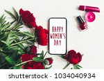 happy women's day text sign on... | Shutterstock . vector #1034040934