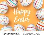 happy easter eggs square frame... | Shutterstock .eps vector #1034046733
