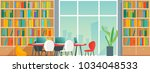 public or home library interior ... | Shutterstock .eps vector #1034048533