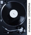 turntable with black record and ... | Shutterstock . vector #1034050966