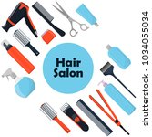 hair salon concept. tools and... | Shutterstock .eps vector #1034055034