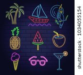 neon set signs of summer beach... | Shutterstock .eps vector #1034055154
