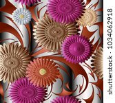 3d flowers vector seamless...   Shutterstock .eps vector #1034062918