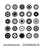 set of silhouettes gears... | Shutterstock .eps vector #1034064676
