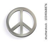 silver peace sign. 3d render... | Shutterstock . vector #1034068876