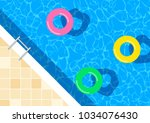 swimming pool with floating...   Shutterstock .eps vector #1034076430