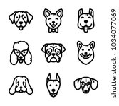 Stock vector dogs icon set 1034077069