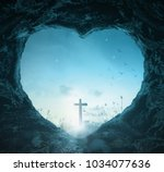 crucifixion of good friday... | Shutterstock . vector #1034077636