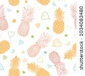 vector orange green pineapples... | Shutterstock .eps vector #1034083480