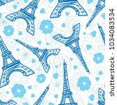 vector blue eifel tower paris... | Shutterstock .eps vector #1034083534