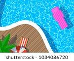 swimming pool umbrella lounger...   Shutterstock .eps vector #1034086720