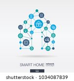 smart home integrated thin line ... | Shutterstock .eps vector #1034087839