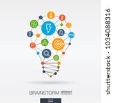 brainstorm integrated thin line ... | Shutterstock .eps vector #1034088316