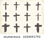 grunge hand drawn cross symbols ... | Shutterstock . vector #1034091793
