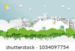 nature landscape and green... | Shutterstock .eps vector #1034097754