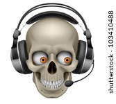 Raster version. Cool Skull with headphones.  Illustration on white background - stock photo