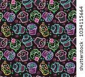 doodle cupcake seamless pattern | Shutterstock .eps vector #1034115664