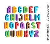 colorful 3d font. isometric... | Shutterstock .eps vector #1034120404