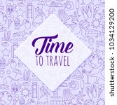 colorful time to travel poster. ... | Shutterstock .eps vector #1034129200