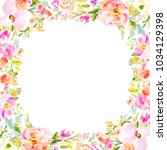 painted watercolor flower frame ... | Shutterstock . vector #1034129398