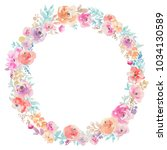 spring watercolor floral wreath ... | Shutterstock . vector #1034130589