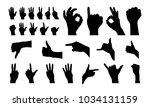 various of hand gesture... | Shutterstock .eps vector #1034131159