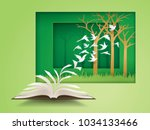 open book with bird flying from ... | Shutterstock .eps vector #1034133466