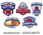 basketball badge design set | Shutterstock .eps vector #1034138470
