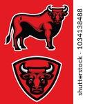 bull mascot in set | Shutterstock .eps vector #1034138488