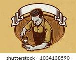 retro design barista making the ... | Shutterstock .eps vector #1034138590