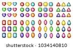 colored gemstones set in gold.... | Shutterstock .eps vector #1034140810