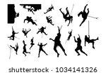 set of climber silhouette... | Shutterstock .eps vector #1034141326