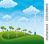 wind turbines on a green meadow ... | Shutterstock .eps vector #1034148643