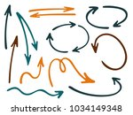 hand drawn diagram arrow icons... | Shutterstock .eps vector #1034149348