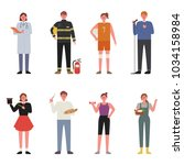 various jobs character. hand... | Shutterstock .eps vector #1034158984