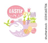 happy easter lettering and... | Shutterstock .eps vector #1034160706